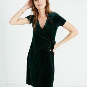 Madewell M Green Velvet Side Tie Wrap Midi Dress